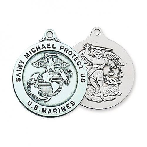 Military Medal St Michael US Marine Corps 1 inch Sterling Silver