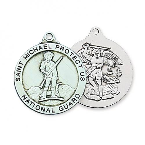 Military Medal St Michael US National Guard 1 inch Sterl Silver