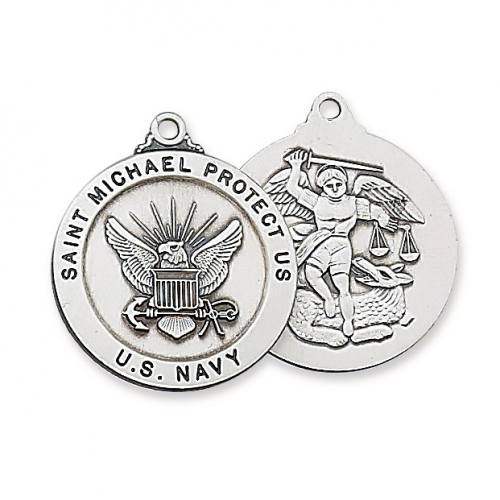 Military Medal St Michael US Navy 1 inch Sterling Silver Pendant