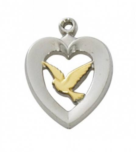 Pendant Dove Heart 1/2 inch Sterling Silver Tutone
