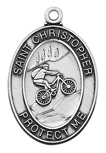Sport Medal St Christopher Biking Men 1 inch Sterling Silver