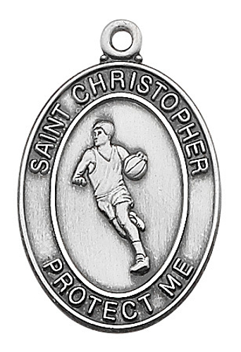 Sport Medal St Christopher Basketball Men 1 inch Sterling Silver