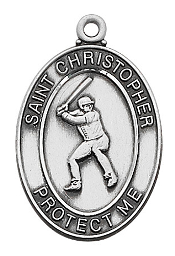 Sport Medal St Christopher Baseball Men 1 inch Sterling Silver