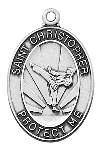 Sport Medal St Christopher Men Martial Arts 1 inch Sterl Silver
