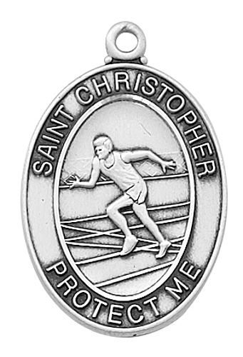 Sport Medal St Christopher Track & Field Men 1 inch Sterl Silver