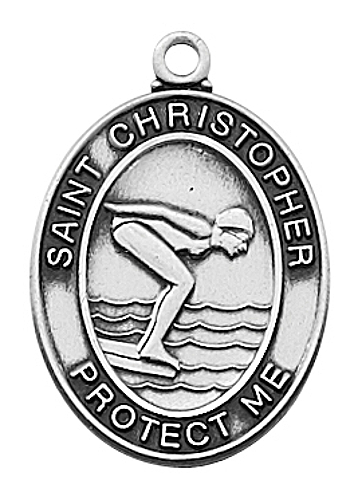 Sport Medal St Christopher Swimming Women 3/4 inch Sterl Silver