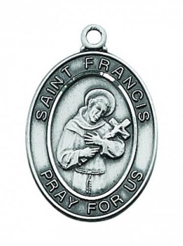 Saint Medal St Francis Assisi 3/4 inch Sterling Silver Pendant