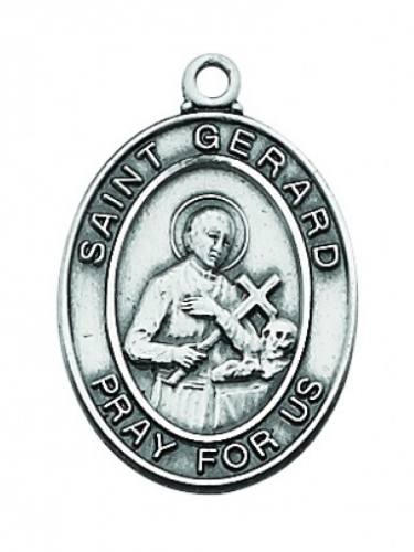 Saint Medal St Gerard 3/4 inch Sterling Silver Pendant
