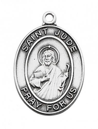 Saint Medal St Jude Thaddeus 3/4 inch Sterling Silver Pendant