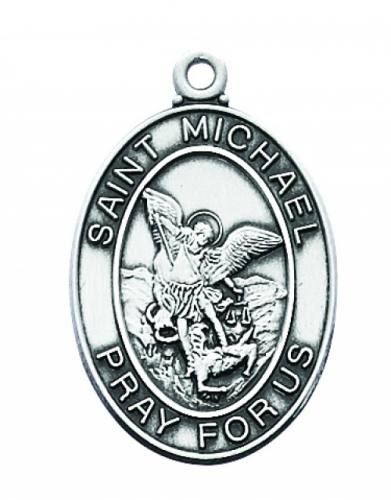 Saint Medal St Michael Archangel 1 inch Sterling Silver Pendant