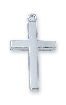 Cross Pendant Simple 1 inch Sterling Silver