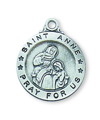 Saint Medal St Anne 5/8 inch Sterling Silver Pendant