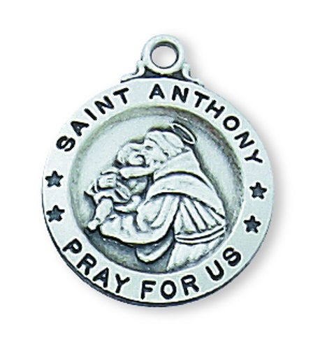 Saint Medal St Anthony of Padua 5/8 inch Sterling Silver Pendant
