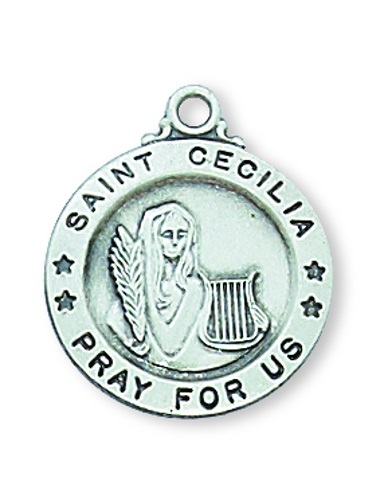 Saint Medal St Cecilia 5/8 inch Sterling Silver Pendant