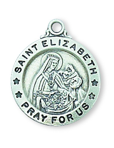 Saint Medal St Elizabeth of Hungary 5/8 inch Ster Silver Pendant