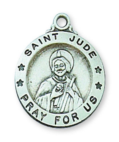 Saint Medal St Jude Thaddeus 5/8 inch Sterling Silver Pendant