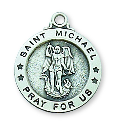 Saint Medal St Michael Archangel 5/8 inch Sterl Silver Pendant