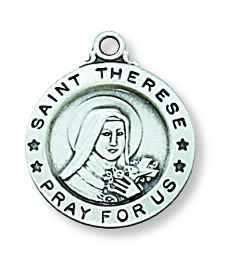 Saint Medal St Therese Lisieux 5/8 inch Sterling Silver Pendant