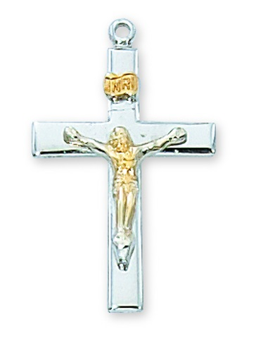 Crucifix Pendant Simple 1 inch Sterling Silver Tutone
