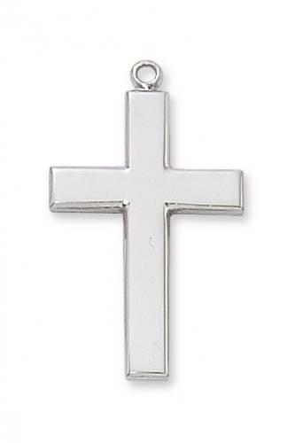 Cross Pendant Simple 1.25 inch Sterling Silver