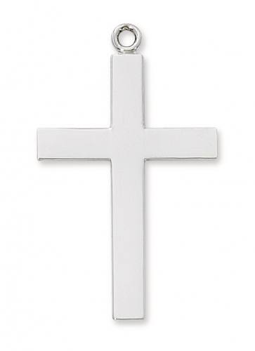 Cross Pendant Simple Lord's Prayer 1.75 inch Sterling Silver