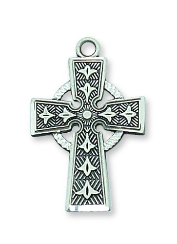 Cross Pendant Celtic 1 inch Sterling Silver