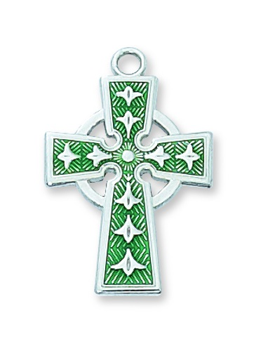Cross Pendant Celtic 1 inch Sterling Silver Enameled