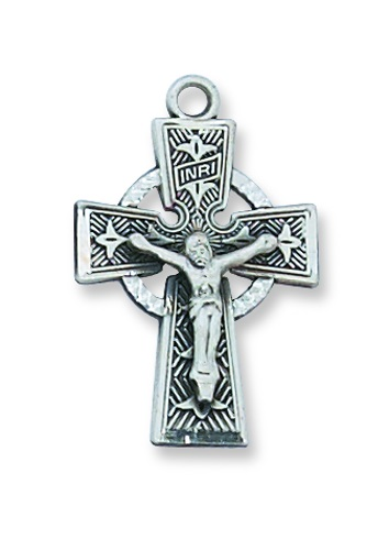 Crucifix Pendant Celtic 1 inch Sterling Silver