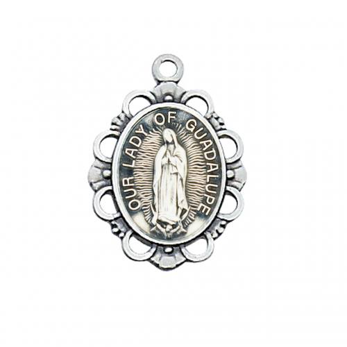 Mary Medal Our Lady Guadalupe 3/4 inch Sterling Silver Pendant