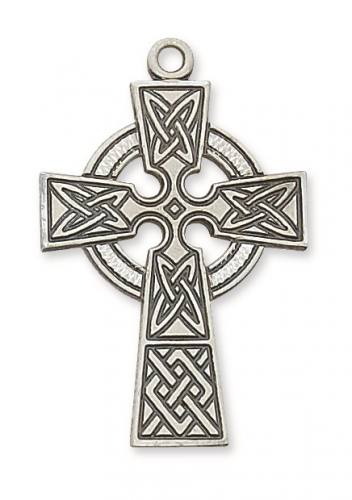 Cross Pendant Celtic 1.5 inch Sterling Silver