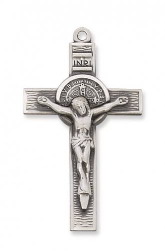 Crucifix Pendant St Benedict Medal 1.75 inch Sterling Silver