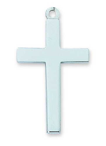 Cross Pendant Simple 1-1/8 inch Sterling Silver
