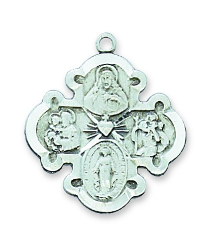 Four Way Medal Budded 3/4 inch Sterling Silver Pendant