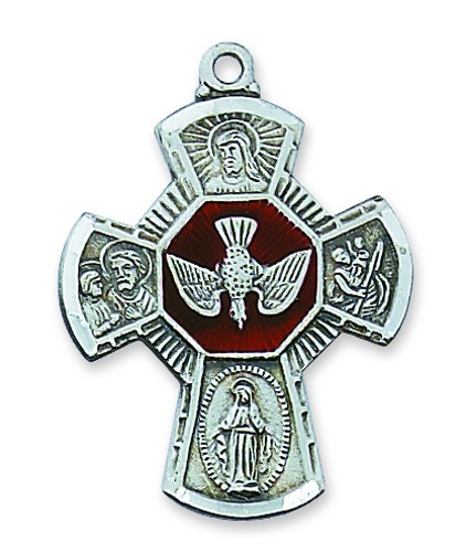 Four Way Medal Flared 1.25 inch Sterling Silver Pendant Enameled