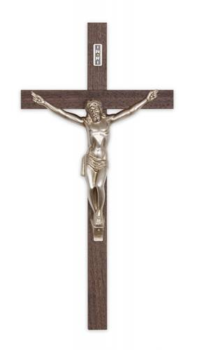 Crucifix Wall Value 10 inch Walnut Thick Silver Corpus