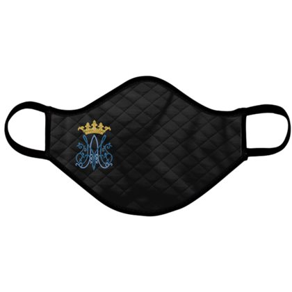 Catholic Face Mask Marian Traditional Black Adult Size