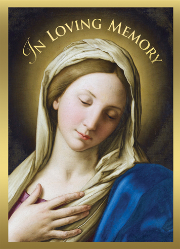 Madonna In Prayer Mass Card Deceased 50 Count