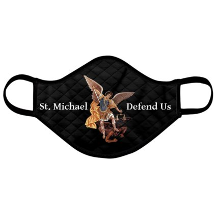 Catholic Face Mask Saint Michael Defend Us Black Adult Size