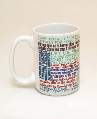 Mug St Clare Assisi Quote Ceramic