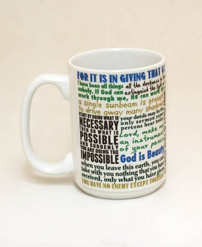 Mug St Francis Assisi Quote Ceramic