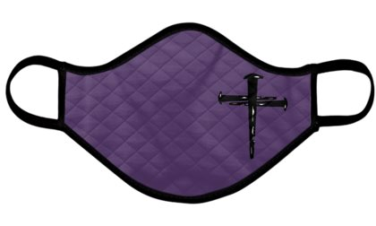 Catholic Face Mask Nail Cross Lent Purple Adult Size