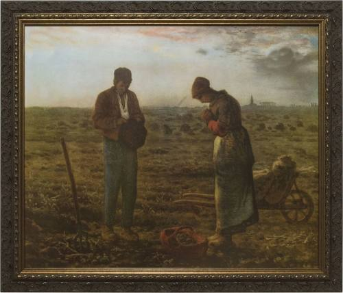 Print The Angelus by Millet 12 X 16 inch Dark Wood Frame