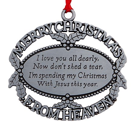 Ornament Merry Christmas From Heaven Pewter