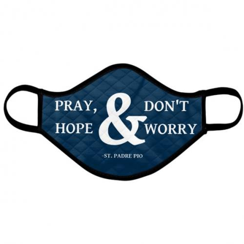 Catholic Face Mask Saint Padre Pio Don't Worry Navy Blue Adult S