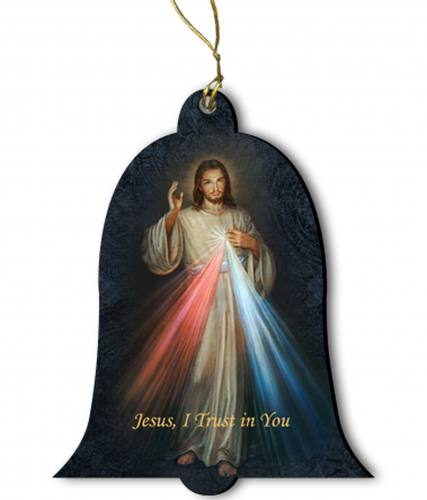 Ornament Divine Mercy Wood 2 inches