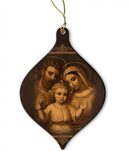 Ornament Holy Family Antique Wood 2 inches