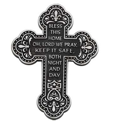 Cross Wall Bless This Home Pewter 5.5 Inches