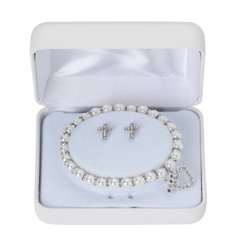 First Communion Jewelry Set White Pearl and Crystal