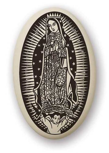 Mary Medal Our Lady Guadalupe 1.5 inch Porcelain Pendant