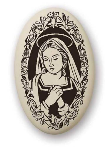 Mary Medal Praying Madonna 1.5 inch Porcelain Pendant
